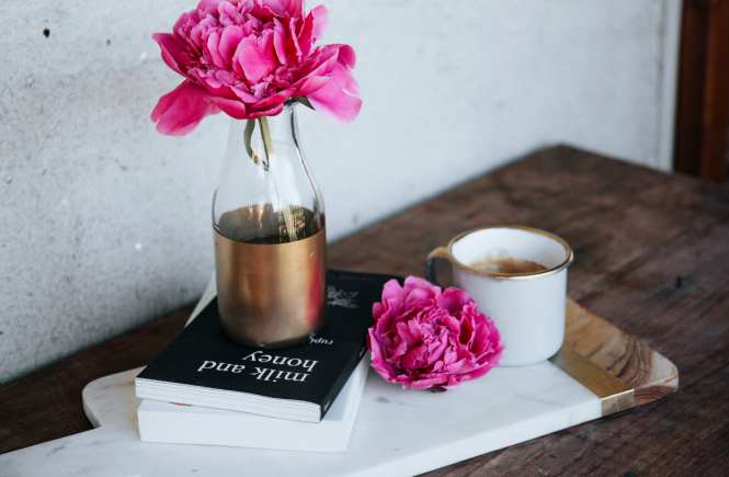 Milk and Honey book w/flowers and coffee
